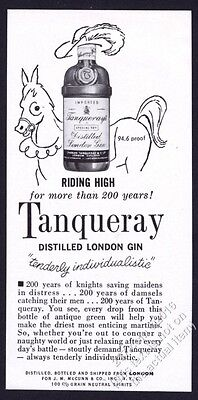 1962 Tanqueray Gin bottle on horse Riding High for More Than 200 Years print ad