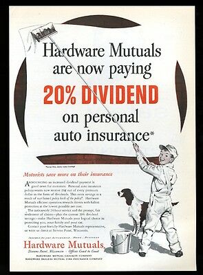 1955 English Setter and boy painter art Hardware Mutuals insurance print ad