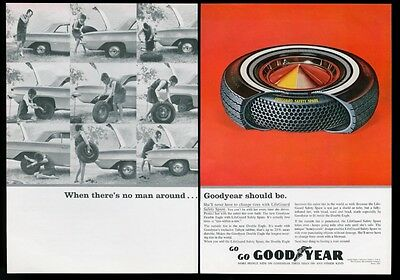 1964 Goodyear tire When There's No Man Around woman changing tire photo print ad