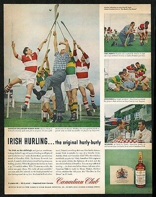 1958 Ireland Irish hurling sports 4 color photo Canadian Club whisky print ad