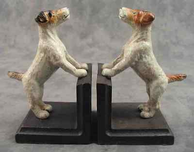 PAIR OF FOX TERRIER JACK RUSSELL Cast Iron HEAVY BOOKENDS Book Ends