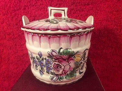 Antique Hand Painted French Faience Strasbourg Lidded Handled Butter Tub Dish