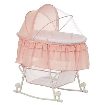 Dream On Me Lacy Portable 2-in-1 Bassinet and Cradle - Rose Quartz
