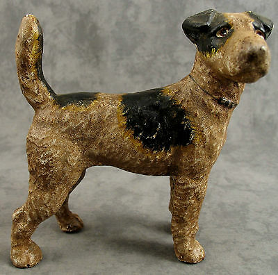 AIREDALE WIRE HAIRED FOX TERRIER DOG Cast Iron HEAVY DOORSTOP BANK STATUE