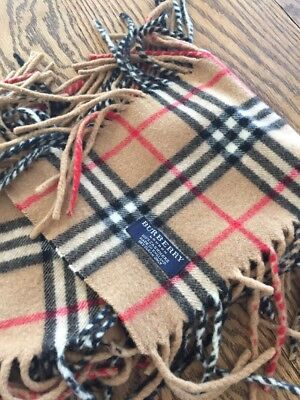 Women's Classic Burberry London 100% Cashmere Scarf With Fringe