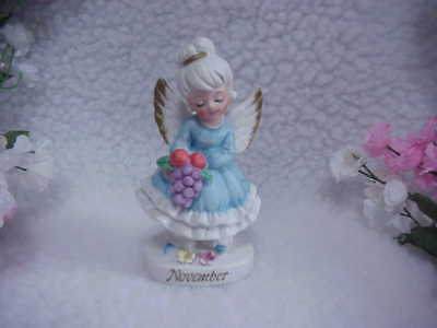 NOVEMBER Girl Birthday Angel~Bunch of Grapes & Apples  In Her Hands