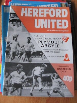 1984-85 Hereford United v Plymouth Argyle FA Cup 2nd round replay 12.12.1984
