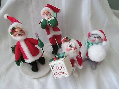 Annalee Christmas Dolls 2 Santa's And 2 Mice Lot Of 4