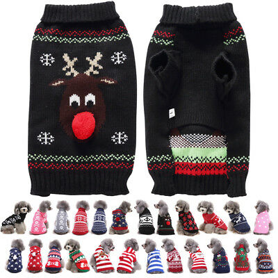 Puppy Pet Dog Cat Various Pattern Jumper Warm Knitted Sweater Coat Xmas Costumes