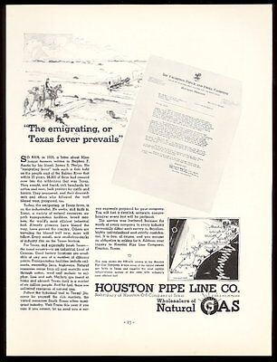 1936 pioneer wagon train art Houston Oil Natural Gas Pipe Line print ad