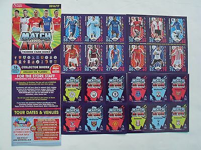 Sport Football MATCH ATTAX 2016-17 Promo SET 12 TRADING GAME CARDS + Card Binder