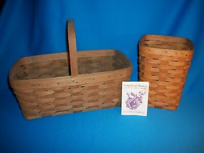 """Longaberger Baskets - """"medium Spoon"""" And Carry-All With Handle- Lot"""