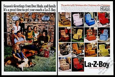 1974 Don Shula photo La-Z-Boy recliner chair vintage print ad