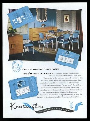 1947 Kensington furniture blue plastic and chrome dining table chair print ad