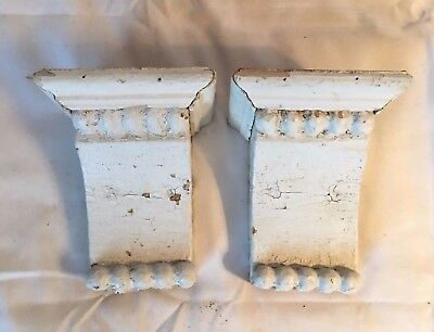 1890's Antique Pair(2) Wood Corbels Brackets Victorian Gingerbread White 687-17