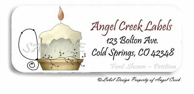 Country Primitive Berries Candle Flame Personalized Return Address Labels