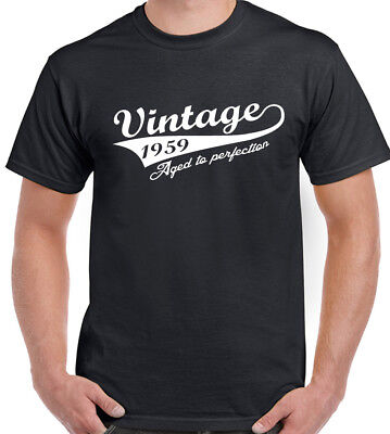 d061d3728 Vintage Year 1959 Mens Funny 60th Birthday T-Shirt 60 Year Old Gift Present  Top