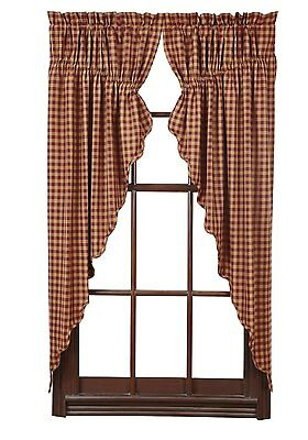 "Burgundy Check Prairie Curtain 2 Pc Set 6X36"" Scalloped Burgundy / Khaki Lined"