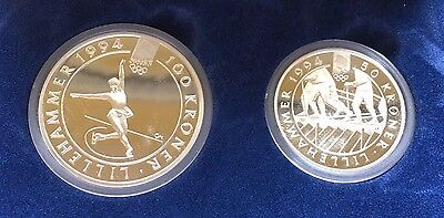 1993 Norway Lillehammer Olympics PROOF SET, 2 COINS SILVER [ASW: 1.499oz](28579)