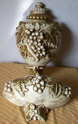 Vintage White Gold Chalkware Lavabo 2 pcs. Wall Hanging Pocket  Grapes Leaves
