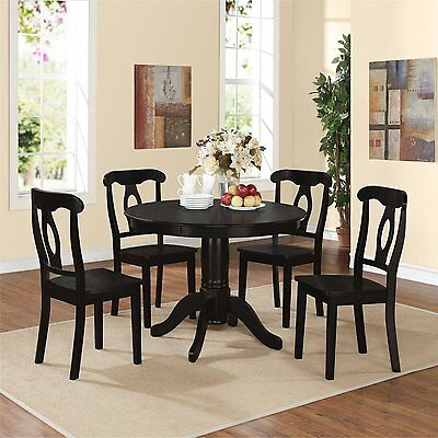 New French Country 5-Piece Round Black Solid Wood Dining Table and Chairs Set