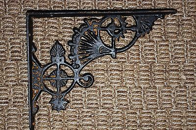 "(6) Oriental Corbels, Vintage-look Corbels, Cast Iron, Black Fan, 8 1/2"", B-47"