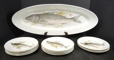 Antique Karlsbad Porcelain Twelve Piece Hand Painted Fish Set