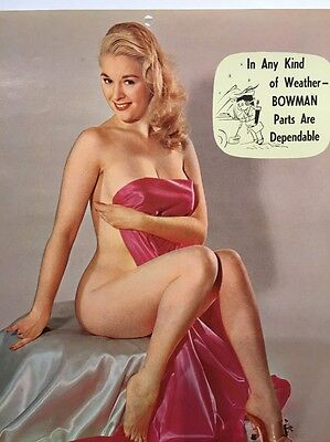Bowman Auto Parts Nude Pin Up Girl Calendar 1959 March Sexy Cleveland Oakland