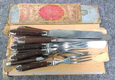 Antique American Cutlery Civil-War-era Flatware Set Knife Fork Lot Wood Handle