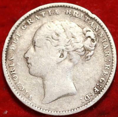 1886 Great Britain Shilling Silver Foreign Coin Free S/H