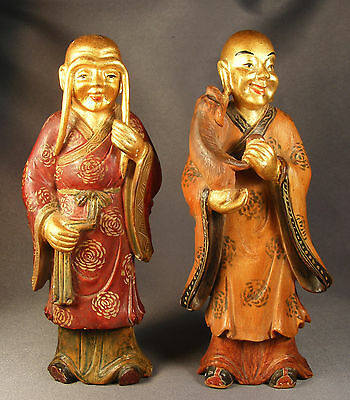 """Pair Vtg/antique Chinese Carved Wood Buddhist Figurines Polychrome & Gilt 6""""H"""