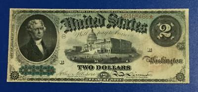 "1869 $2 US DEUCE ""RAINBOW"" ""LARGE SIZE"" Currency! VG! CV $500"