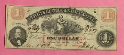 "1862 $1 RED US ""LARGE SIZE"" Treasury Note! Virginia! FINE! Old US Currency"
