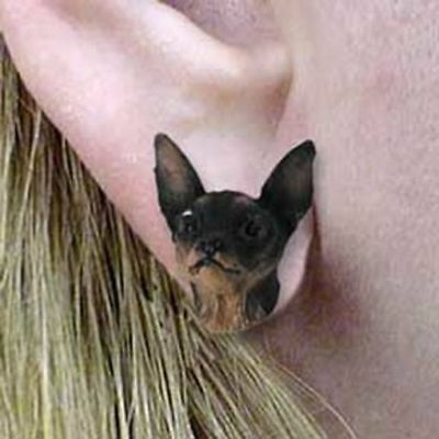 Post Style Finding MIN PIN BLK/TAN Dog Head Post Earrings CLEARANCE SALE