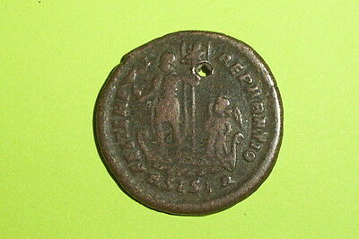 Ancient ROMAN COIN galley Chi-Rho CONSTANS 333 AD pendant globe angel antique VG