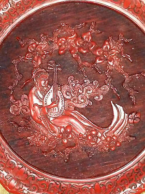 Vintage Old Chinese Cinnabar Plate, Five Perceptions of Weo Cho Sense of Hearing