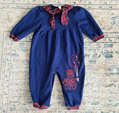 Vintage Healthtex Girl Blue Red Plaid Teddy Bear LS Romper Outfit 18 Months