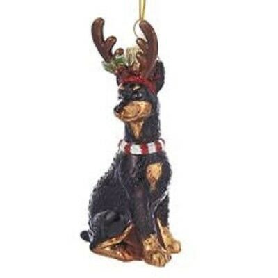 Glass Dog Ornament DOBERMAN w/Antlers Xmas Ornament