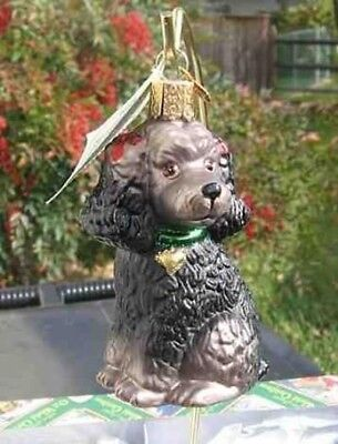 Old World Christmas POODLE Grey Dark Blown Glass Tree Ornament