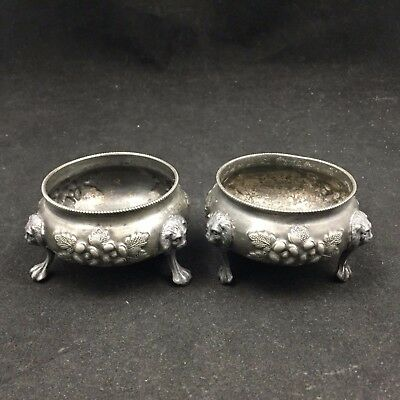 """Pair (2) Small Decorative Silver Metal Bowls-3 Footed-Lions Heads & Flower-2.5"""""""