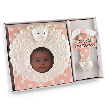 Mud Pie Baby PINK LAMB CROSS & FRAME SET 198143 Welcome Home Collection