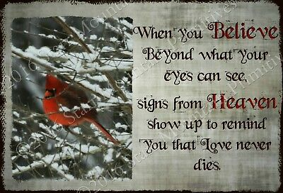 Primitive Cardinal in the Snow Memorial Loved One Poem Visitor Heaven Print 8x10