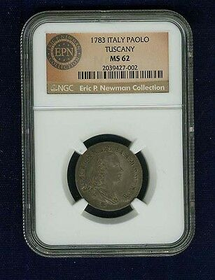 """Italy Tuscany  1783  """"paolo"""" Silver Coin, Uncirculated, Ngc Certified Ms-62"""