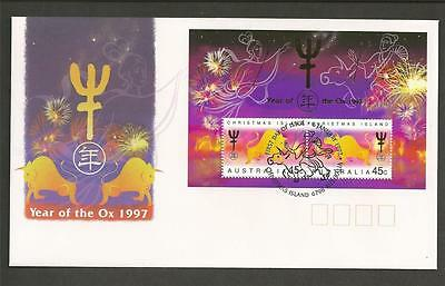 CHRISTMAS ISLAND -1997 Chinese New Year - Year of the OX - MINI SHEET - F.D.C.