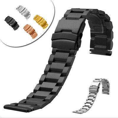 18 20 22 24mm Stainless Steel Watch Bands Straps Flip Bracelet Straight End XMAS