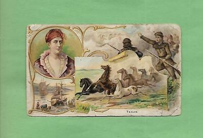 HISTORIC SCENES FROM TEXAS On 1882 ARBUCKLE COFFEE #37 Victorian Trade Card
