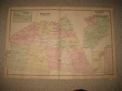 Antique 1876 Locust Franklin Township Columbia County Pennsylvania Handcolor Map
