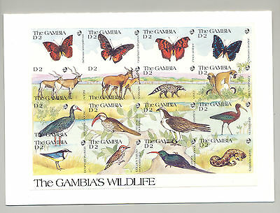 Gambia #1062 Wildlife 1v. imperf proof m/s of 16 with incorrect denominations