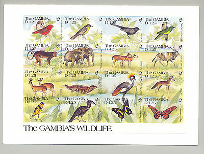 Gambia #1063 Wildlife 1v. imperf proof m/s of 16 with incorrect denominations
