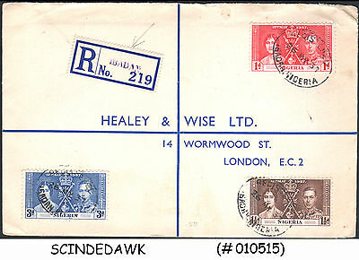 Nigeria - 1937 Regsitered Envelope To Great Britain With Kgvi Coronation Stamps